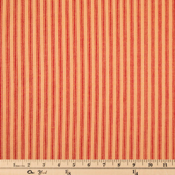 Cream & Red Ticking Striped Cotton Calico Fabric
