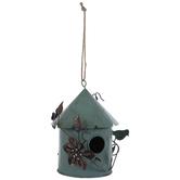 Antique Turquoise Metal Birdhouse