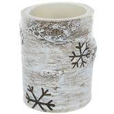 "Wood Look Snowflake LED Candle - 3"" x 4"""
