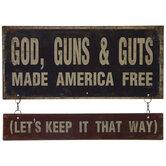 God, Guns & Guts Metal Wall Decor