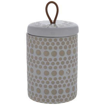 Beige & White Circles Canister