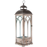 Distressed Gray Wood Lantern With Drawer