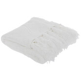 White Knit Throw Blanket With Tassels