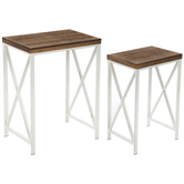 White & Brown Wood Plank Accent Table Set
