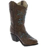 Brown & Blue Cowboy Boot Vase