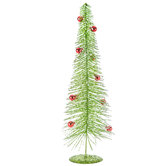 Green Flocked Tree Decor With Red Ornaments - Medium