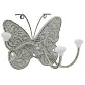 Floral Butterfly Metal Triple Wall Hook