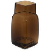 Dark Brown Square Glass Vase