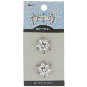 Rhinestone Flower Shank Buttons - 20mm