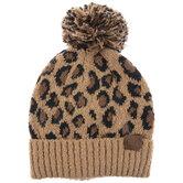 Brown Leopard Pom C.C Beanie