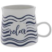 White & Blue Wavy Striped Relax Mug