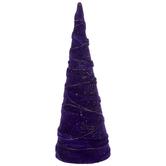 Purple & Gold Velvet Glitter Cone Tree