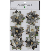 Black & White Buffalo Check Poinsettia Embellishments