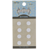 White Flat Shank Buttons - 8mm