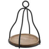 Caged Round Wood Tray