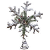 Frosted Rattan Snowflake Tree Topper