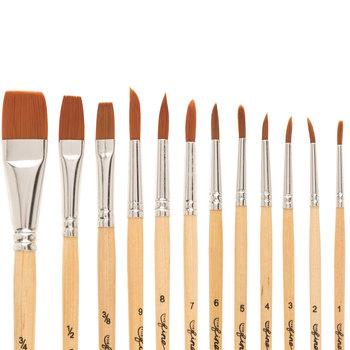 Brown Nylon Paint Brushes - 12 Piece Set