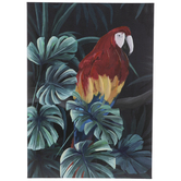Macaw & Monstera Leaves Canvas Wall Decor
