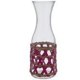 Pink Wicker Glass Carafe