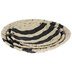 Natural & Black Striped Round Woven Tray Set