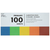 "Primary Cardstock Paper Pack - 4 1/2"" x 6 1/2"""