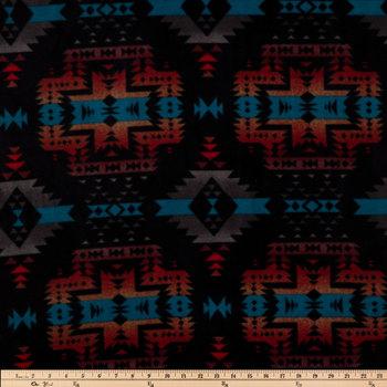Black Geometric Canyon Anti-Pill Fleece Fabric