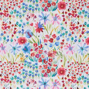 Floral fabric Flowers fabric Pastel fabrics Wildflower fabric