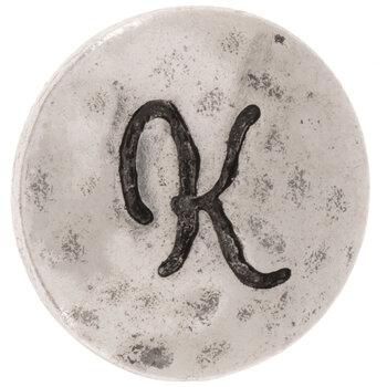 Hammered Alphabet Snap Charm - K