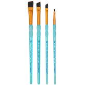 Black Taklon Angled Paint Brushes - 4 Piece Set