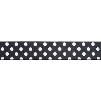 "Black & White Polka Dot Satin Wired Edge Ribbon - 2 1/2"""