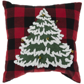 Red & Black Buffalo Check Pillow With Tree