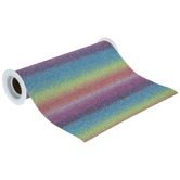 Rainbow Glitter Faux Leather Ribbon - 7 1/2""