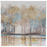 Gold Trees By The Lake Canvas Wall Decor