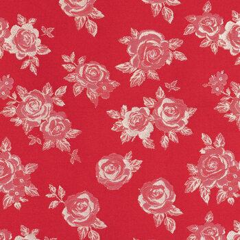 Red & Gold Jacquad Rose Apparel Fabric