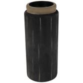 Black Log Wood Candle Holder - Large