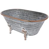 Whitewash Claw Foot Tub Metal Planter
