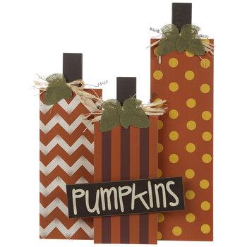 Patterned Wood Pumpkin Trio