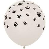 White Paw Print Balloons
