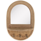 Wood Wall Mirror With Hooks