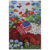 Red Truck & Flowers Garden Flag