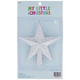 Silver Glitter Star Mini Tree Topper
