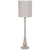 Distressed White Metal Lamp