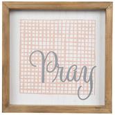 Pray & Pink Check Wood Decor