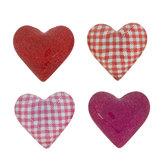 Gingham & Glitter Heart Glass Magnets