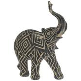 Black & Tan Geometric Elephant
