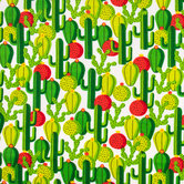 Green Cactus Flannel Fabric