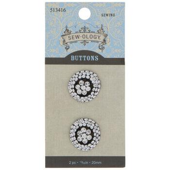 Round Rhinestone Shank Buttons - 20mm