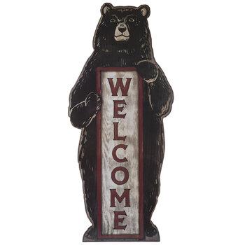 Welcome Bear Wood Wall Decor