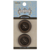 Brown Round Wood Grain Buttons - 28mm