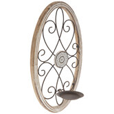 Rustic Oval Wood Wall Sconce